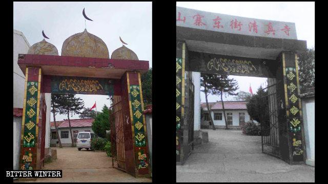 L'ingresso di una moschea nella contea di Huating prima e dopo la rimozione dei simboli islamici